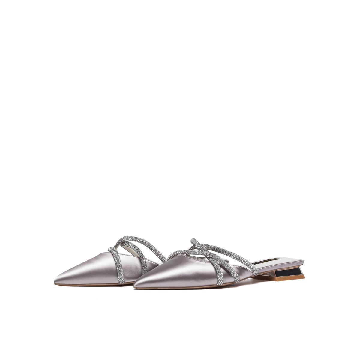 SS11114107 春夏新款欧美风尖头低跟包头拖半拖鞋 2021 星期六穆勒鞋