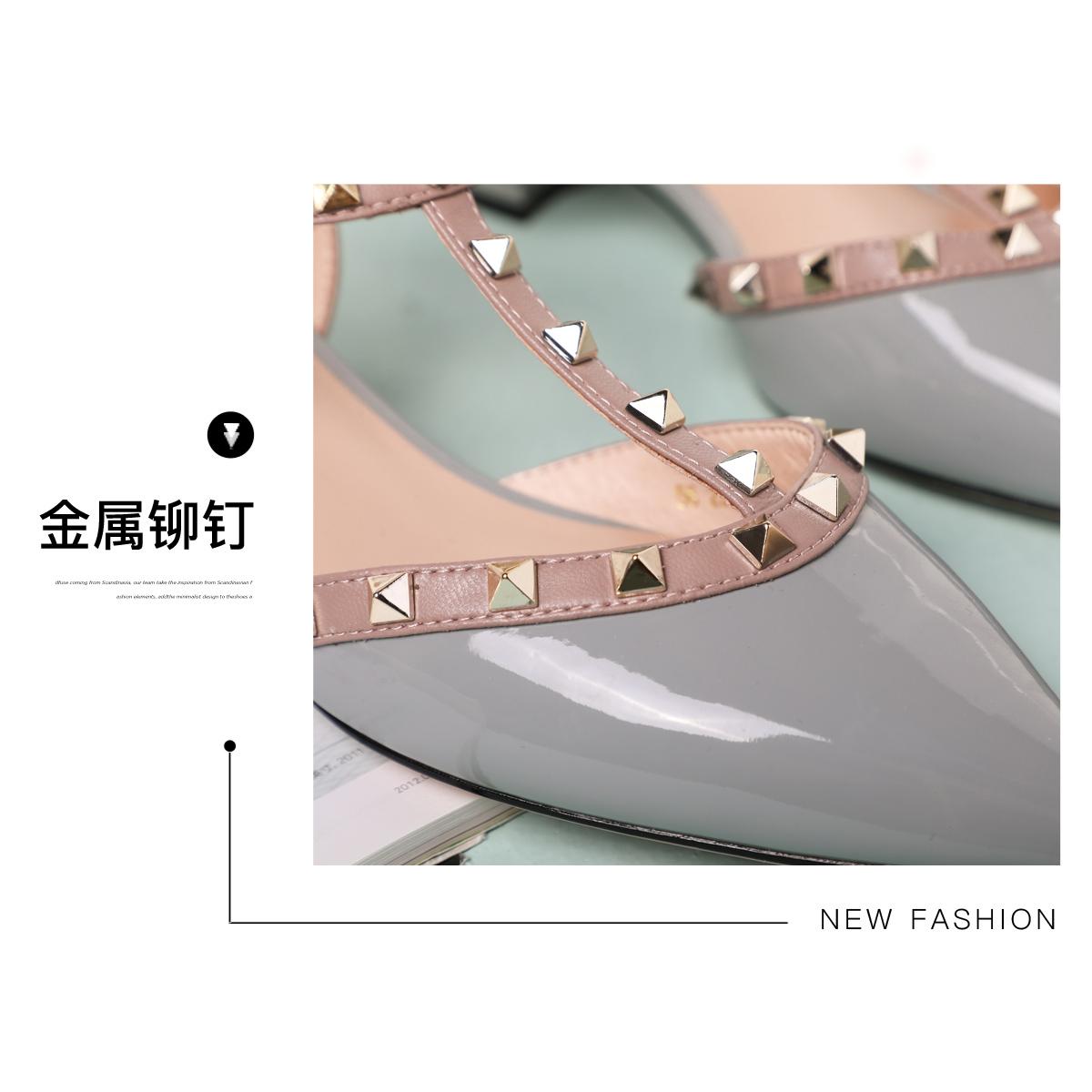 SS11114075 春夏新款拼色铆钉中跟粗跟包头女鞋 2021 星期六时装凉鞋