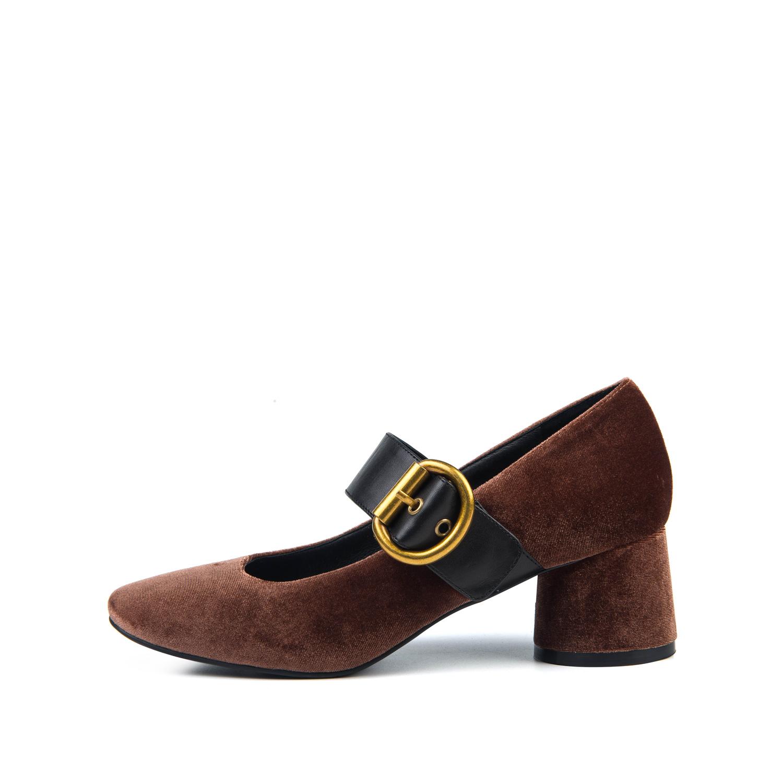 SS73111204 星期六春秋羊反绒复古皮带扣粗高跟玛丽珍单鞋 Sat ; amp & St
