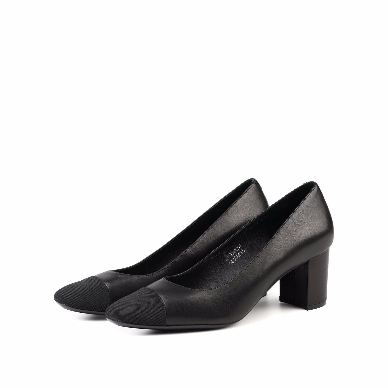 SS73111351 星期六春季小香风羊皮拼色粗跟单鞋女鞋 Sat ; amp & St