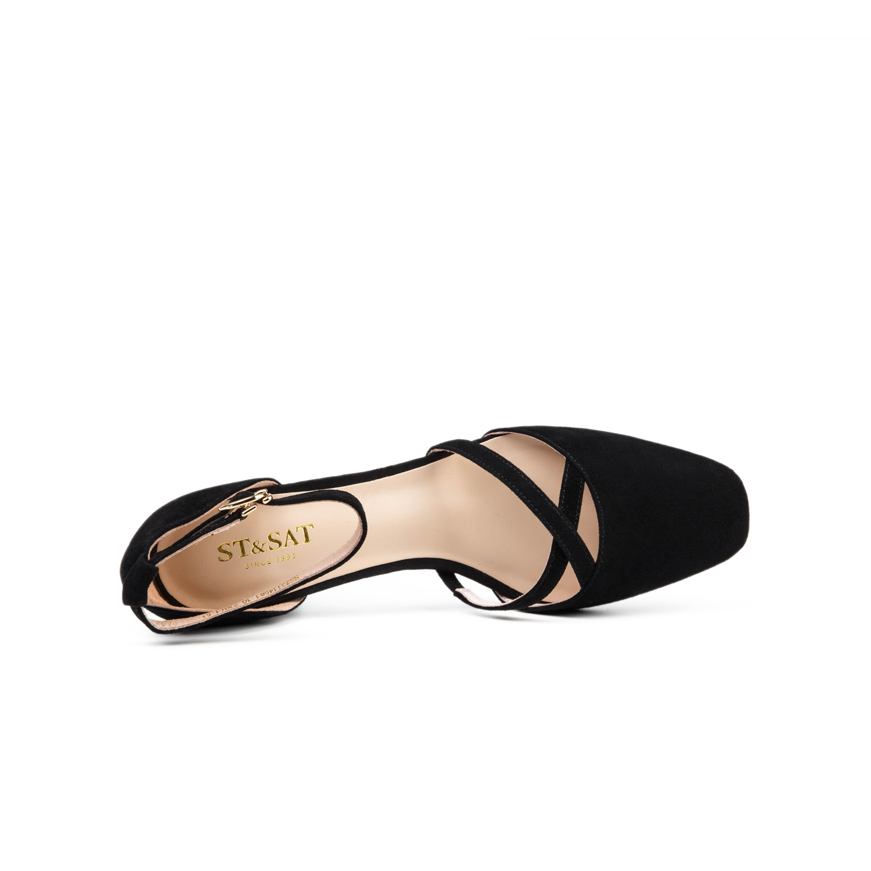SS73114581 星期六春秋款羊反绒一字带女鞋细带粗高跟单鞋 Sat & St