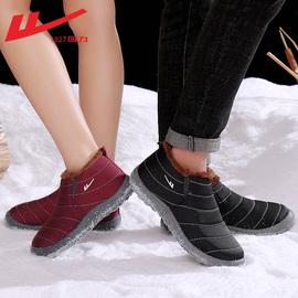 回力棉鞋男冬季保暖加绒加厚防水防滑老人棉靴一脚蹬老北京雪地靴