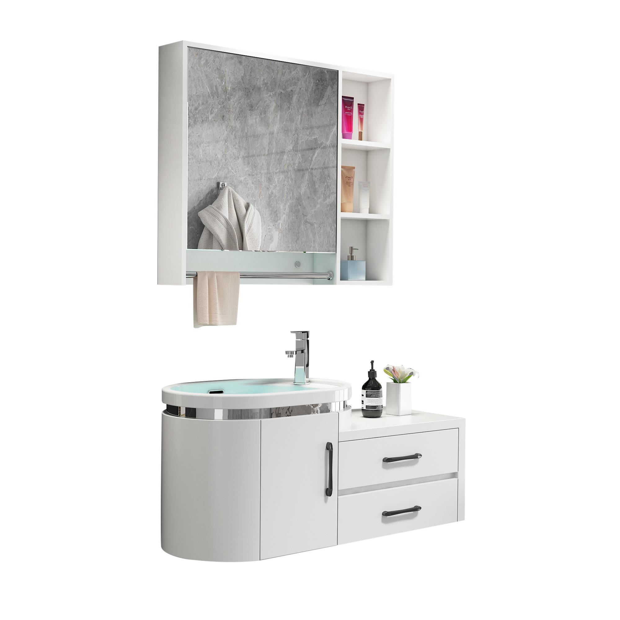 浴室柜小户型洗脸盆洗手面池柜组合卫生间洗漱台卫浴吊柜 pvc 智能