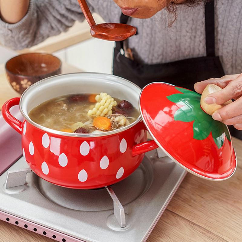 肥龍搪瓷日本草莓加厚琺琅加厚18cm湯鍋電磁爐燃氣通用雙耳家用