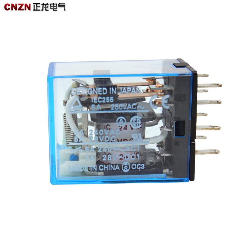 2路8脚电源小型中间继电器MY2NJ交流AC220V电磁继电器HH52P L带灯