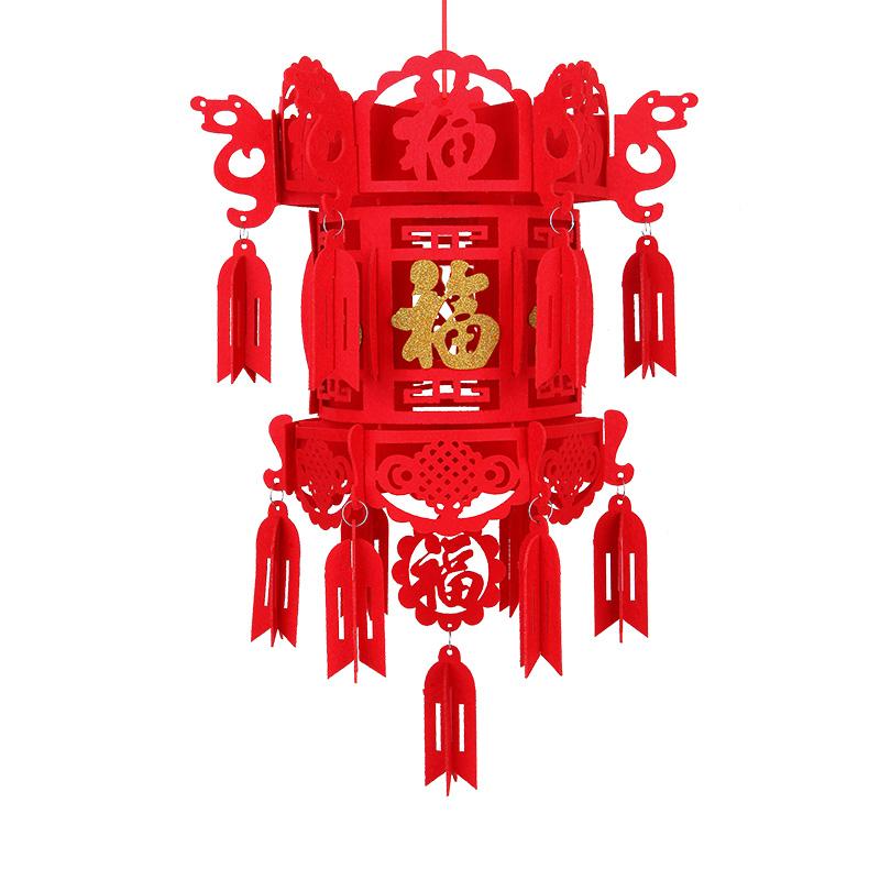 春节小灯笼挂饰新年无纺布大红灯笼福字灯笼室内布置装饰宫灯挂件