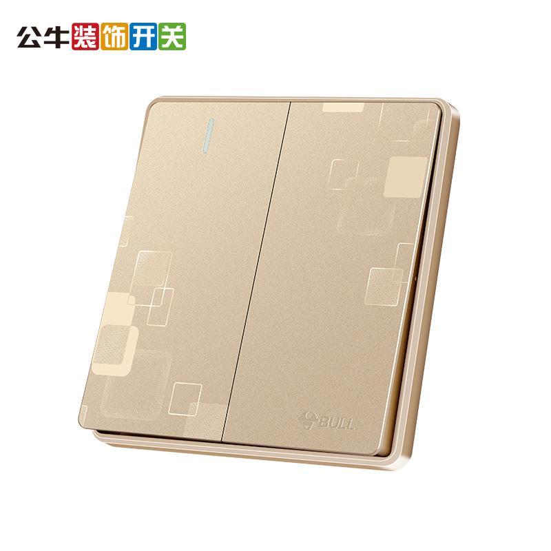 公牛开关插座面板 幻影金色二开单控 带荧光二位单极电源86型G18
