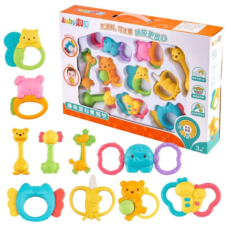 澳贝婴儿玩具牙胶手摇铃0-1岁宝宝手抓握3-6-12个月男孩可啃咬