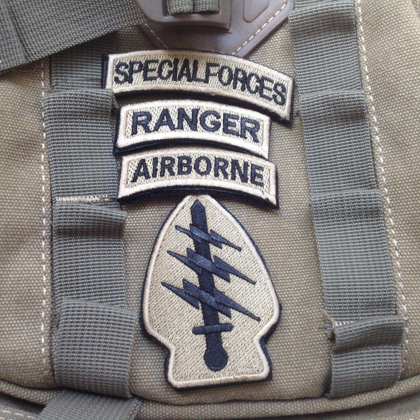 4件套美國特種部隊+遊騎兵+空降兵+陸軍特種部隊刺繡魔術貼徽章