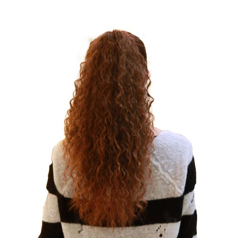 假发马尾女绑式泡面中长发长卷发玉米烫抓夹式假发片假马尾辫发尾