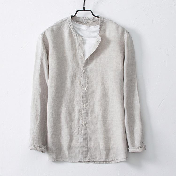 欢乐颂老谭同款夏季透气休闲男式纯亚麻衬衣立领薄款棉麻百搭衬衫