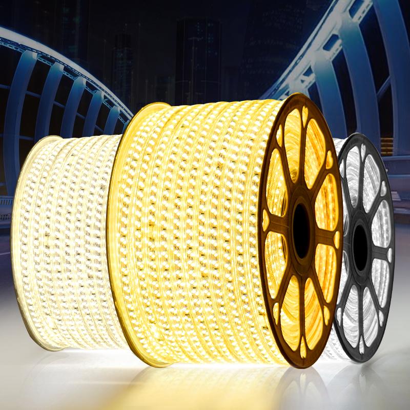 灯条 220V 三色变色家用客厅吊顶卡槽装饰创意超亮户外防水 led 灯带
