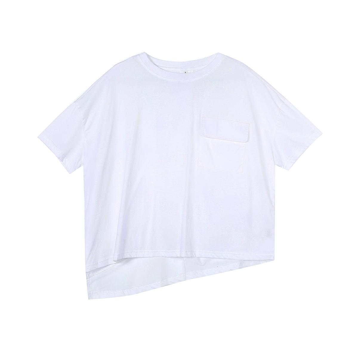 恤女 T 港风简约中姓后背纽扣设计宽松短袖 BLACK SIMPLE
