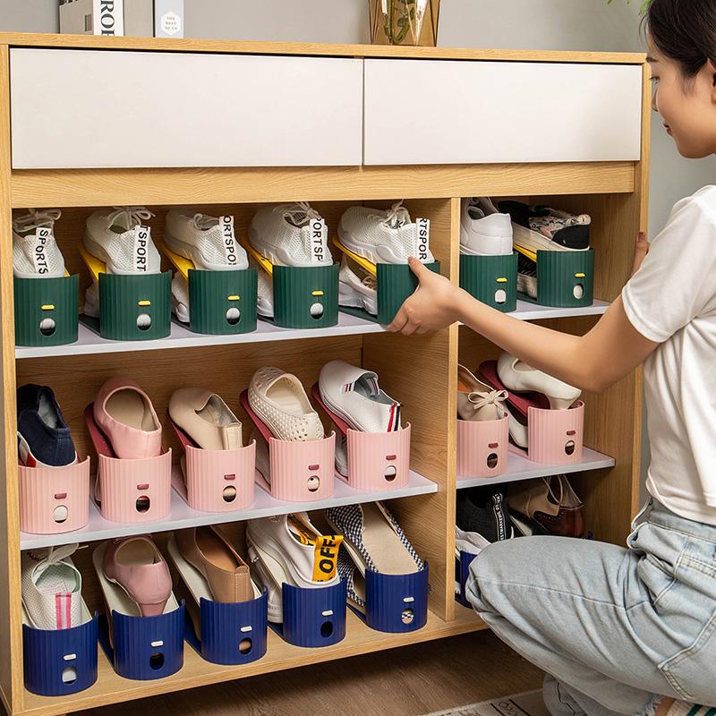 省空间鞋子收纳神器简易家用塑料鞋柜宿舍整理鞋盒鞋架鞋托收纳盒