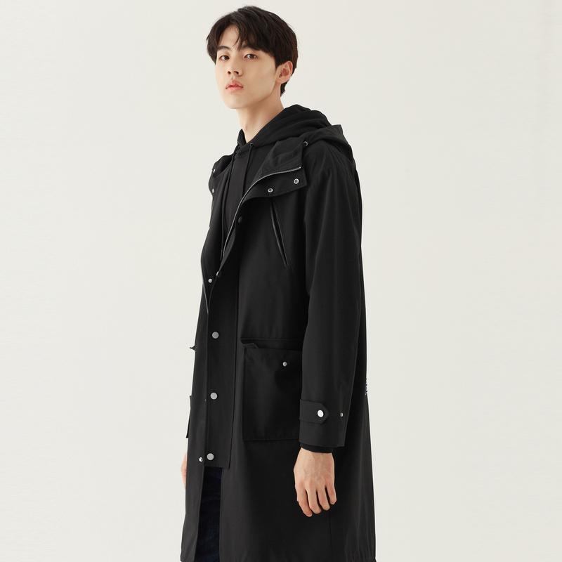 春秋热卖韩版中长款连帽韩版潮流黑色风衣外套男士 男装 GXG