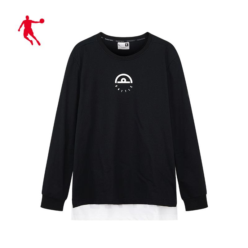 乔丹男装长袖T恤男2020春季新款针织圆领男士套头衫休闲潮卫衣男