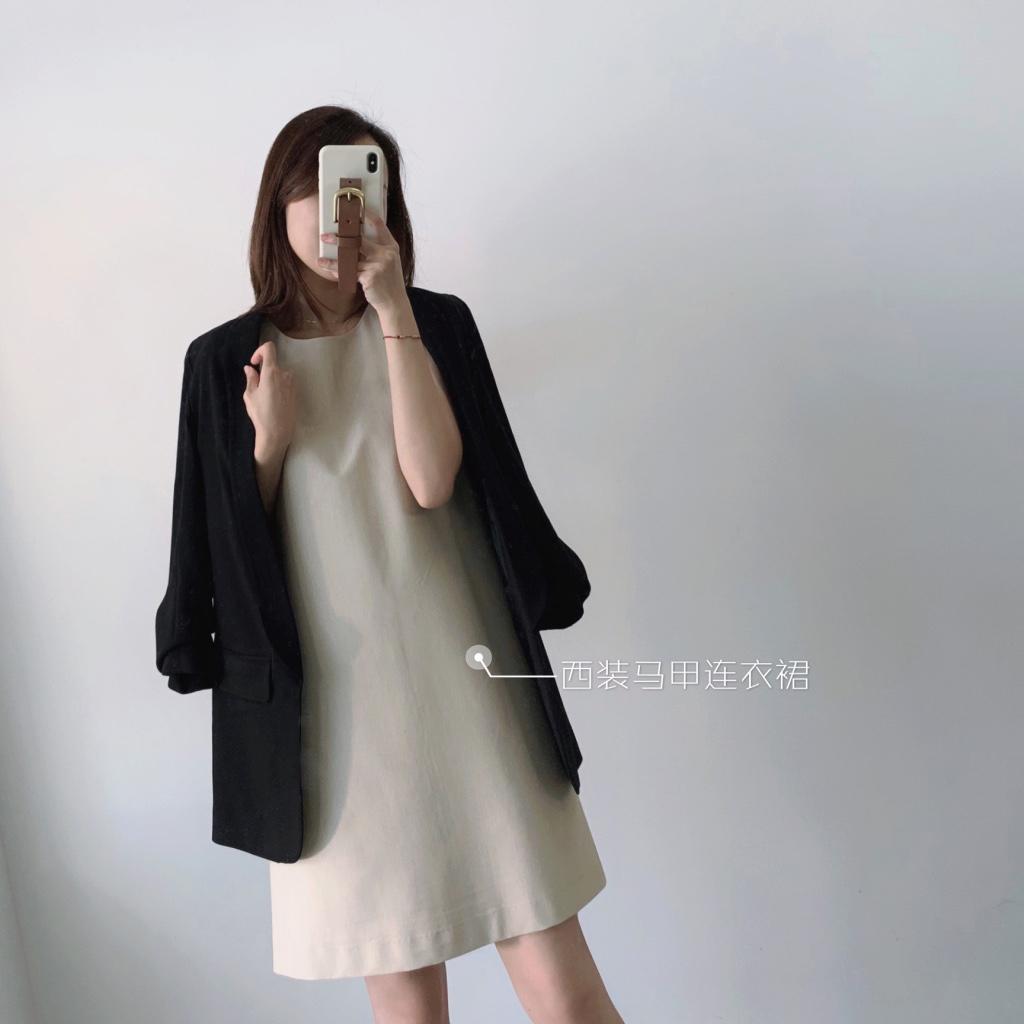 骊支品质小众设计感女秋西装背心裙显瘦气质长连衣裙法式轻熟时尚
