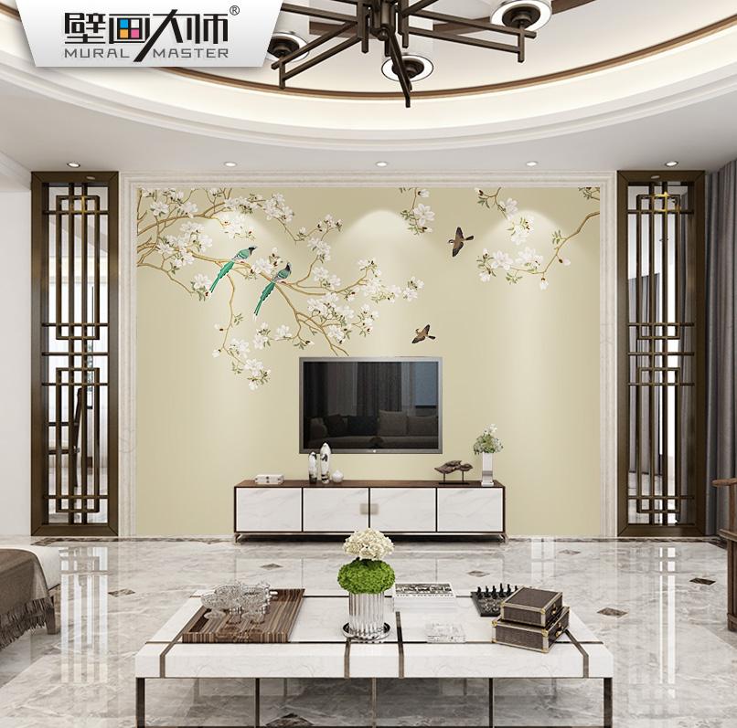 现代新中式壁纸壁画无纺布墙纸3D客厅卧室电视背景墙壁纸花鸟墙布