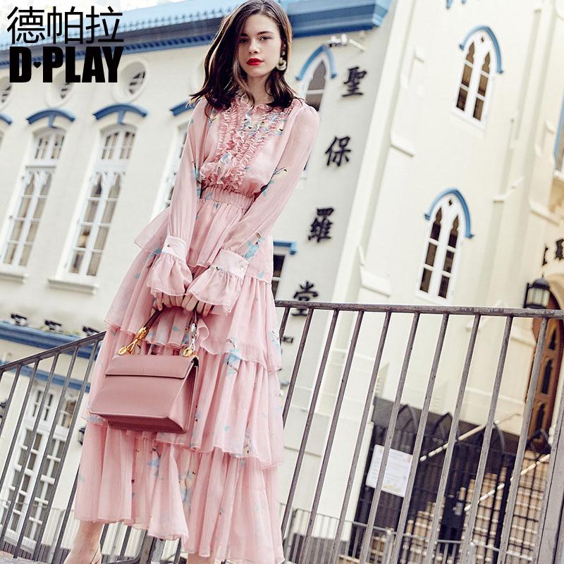 DPLAY秋款粉色碎花喇叭长袖连衣裙长款木耳花边蛋糕裙仙女连衣裙