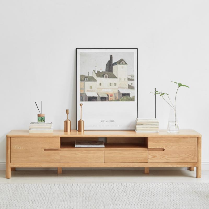 维莎全实木电视柜1.8/2米橡木简约现代小户型环保客厅家具地柜