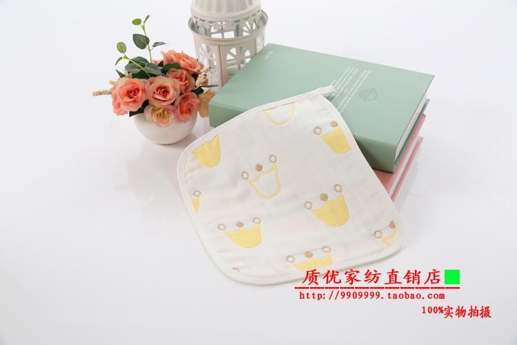 【4条装】婴儿洗脸全纯棉6层纱布新生儿手帕宝宝口水小方巾奶垫巾