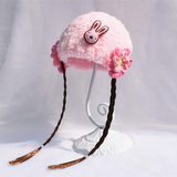 Hand-woven female baby wig hat bib suit baby coral velvet wig hat 0-1-2 years old autumn and winter