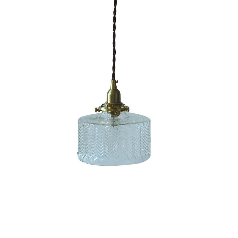 日式复古高端黄铜玻璃吊灯民宿餐厅卧室床头过道吧台灯 空野枝蓝