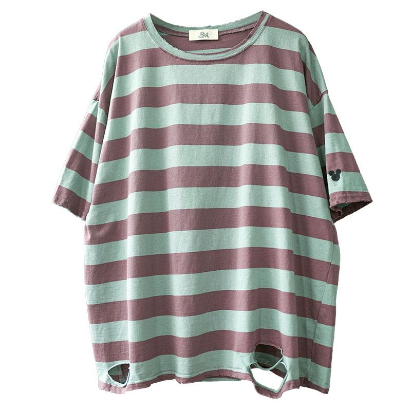 夏季 2020 恤女圆领短袖薄款 T 韩版休闲宽松大码全棉刺绣条纹 新 5.11