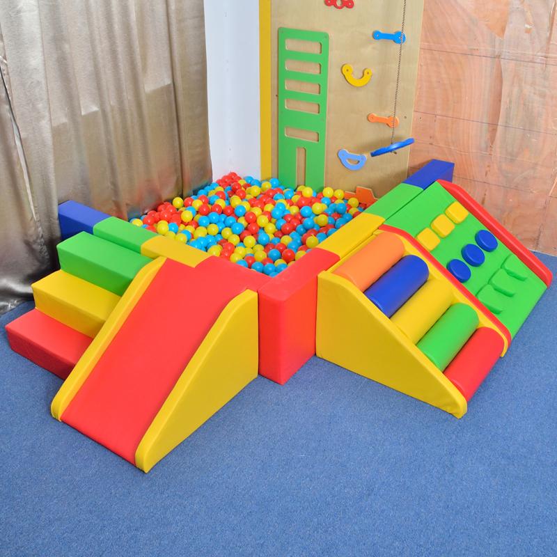 蓝丰软包海洋球池 波波球池 幼儿园教具 墙角角落软包球池围栏可
