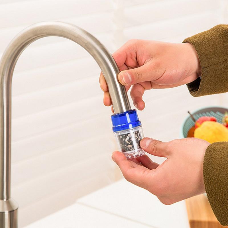 日本麥飯石磁化水龍頭過濾頭器濾水頭 多層過濾負離子竹炭淨水器