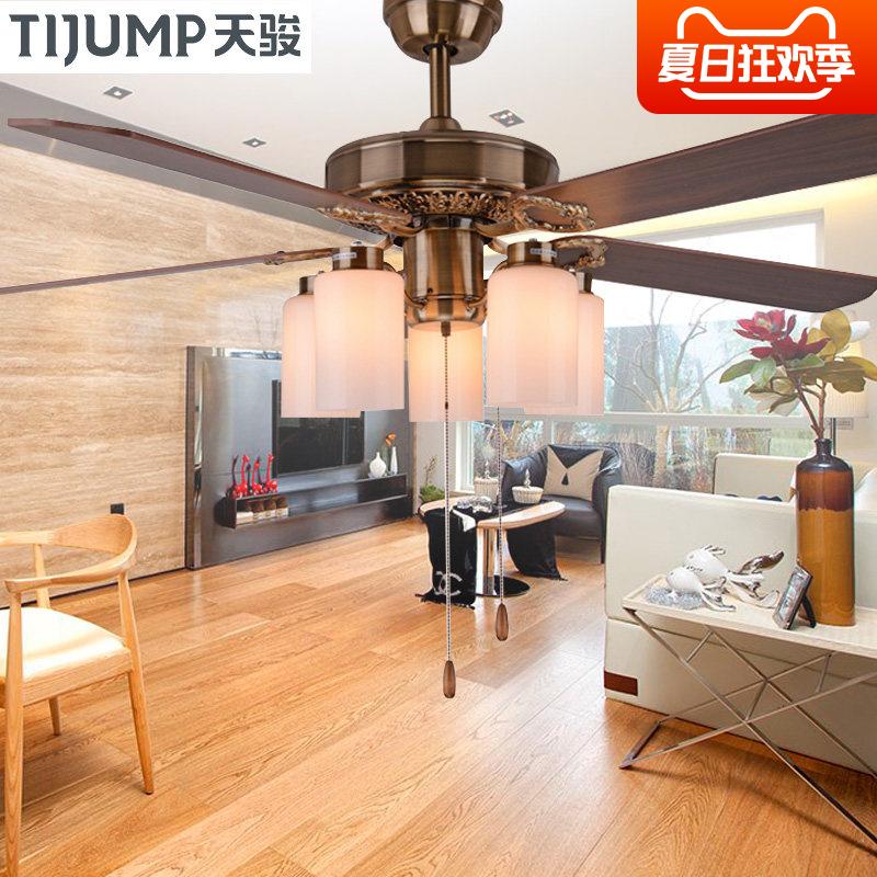 天駿吊扇燈簡約時尚餐廳風扇燈家用客廳歐式仿古木葉帶風扇的吊燈