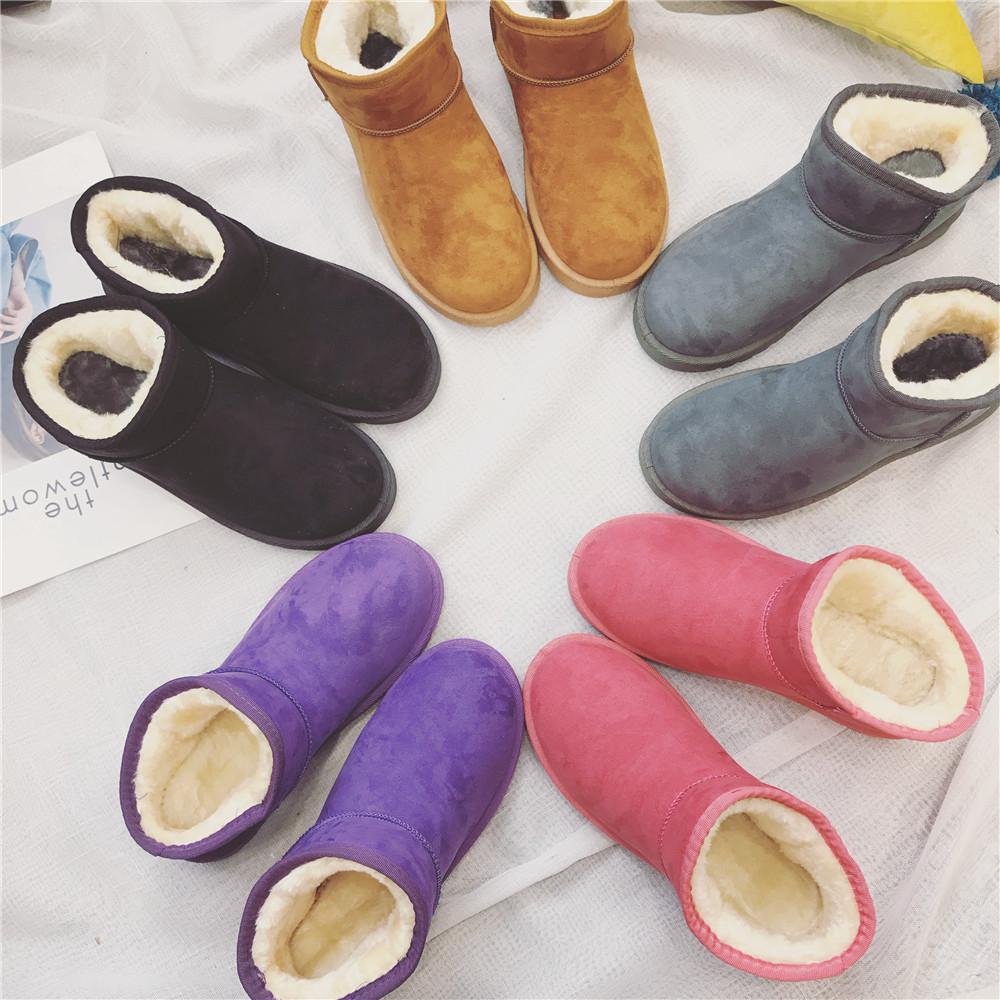 秋冬季新款韩版加绒保暖棉鞋平底鞋百搭学生女靴子 2017 雪地靴短靴