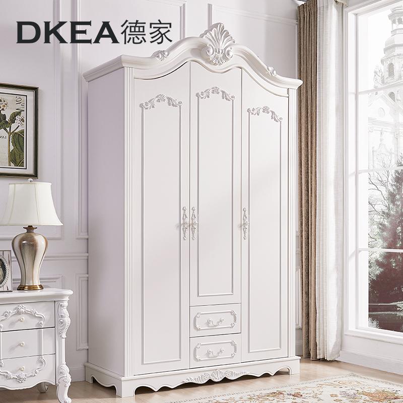 德家傢俱 歐式衣櫃三門大衣櫃整體衣櫃衣櫥木質衣帽間白色儲物櫃