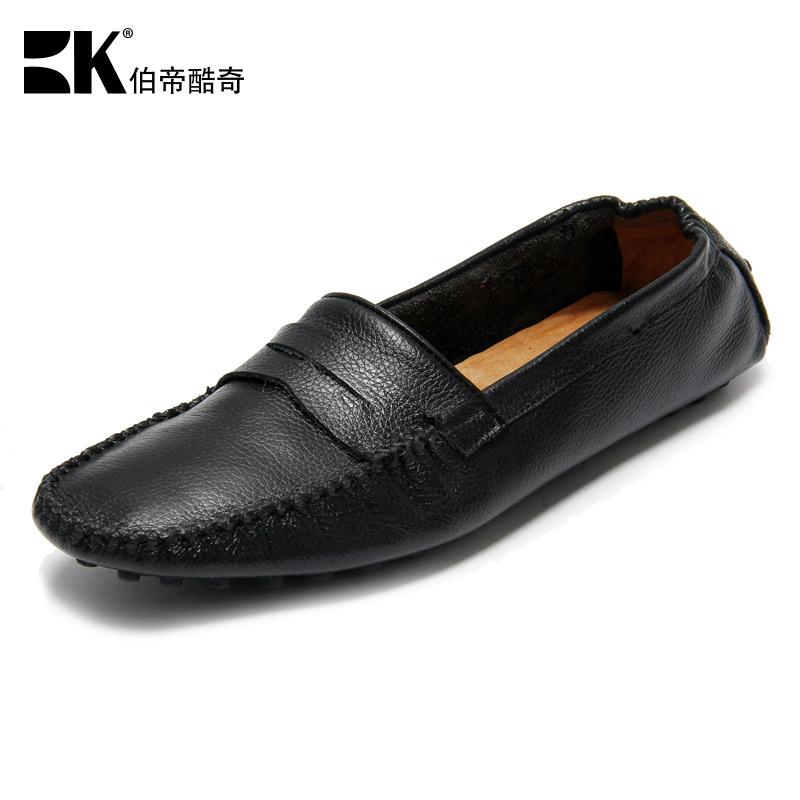 伯帝酷奇男士英伦豆豆鞋真皮韩版套脚懒人鞋夏季休闲透气驾车鞋 BK