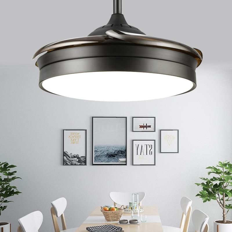 吊灯 带灯扇一体吸顶黑色电扇