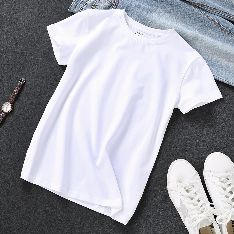 白色t恤女夏纯白短袖纯棉上衣2021新款t桖休闲宽松体恤纯色白体主图