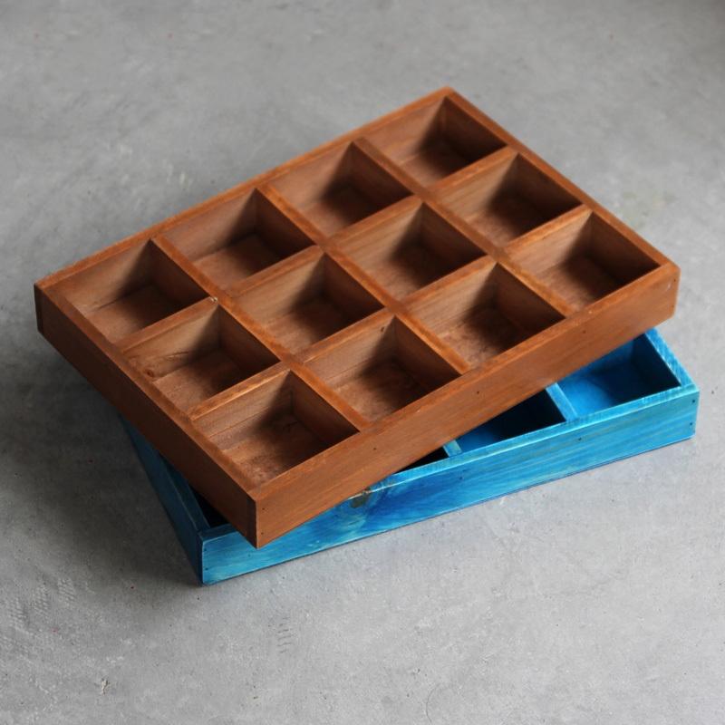 zakka雜貨木質收納盒 復古做舊桌面化妝品格子整理盒 分格木盒子