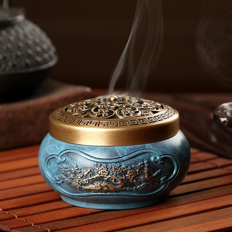 纯铜烧色沉香炉禅意盘香炉檀香薰炉仿古茶道香道家用室内供佛摆件