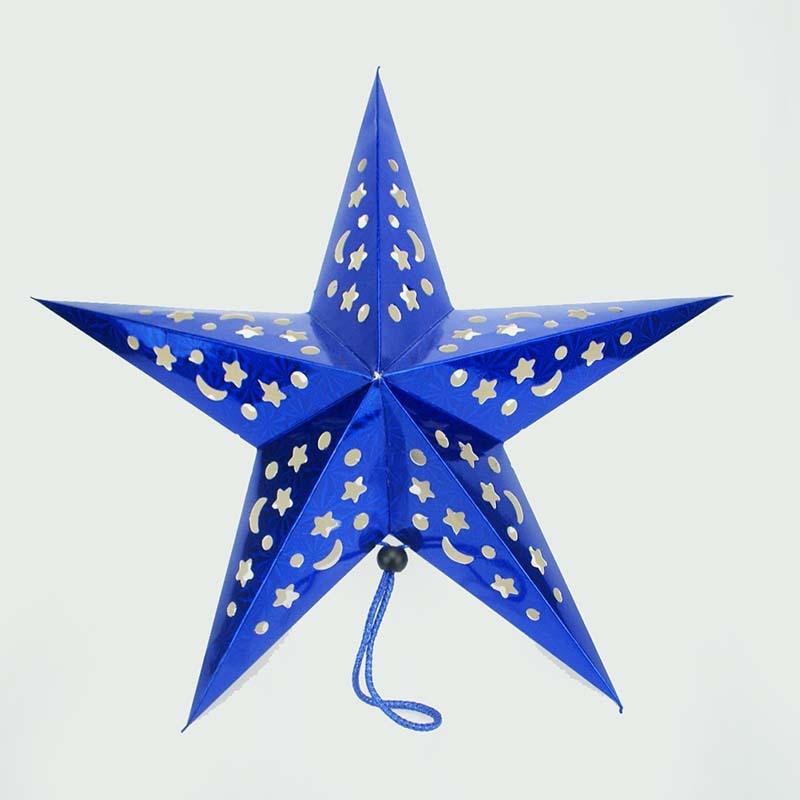 新年春节装饰品立体镭射五角星灯罩吊顶圣诞挂饰星星灯罩