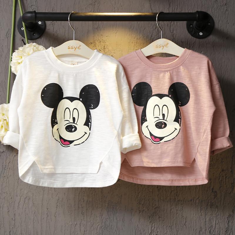 2019春季新款 女童卡通圓領長袖T恤打底衫兒童不對稱下襬t恤上衣