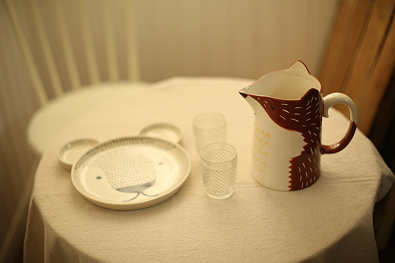 北欧风陶瓷狐狸造型奶壶引流壶水升咖啡壶插花瓶工具收纳储物罐