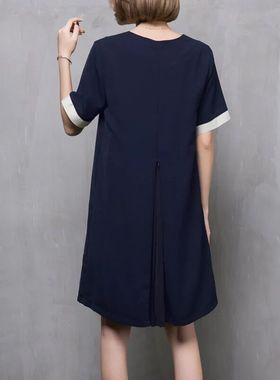 韩国正品2021新款宽松显瘦短袖V领a字雪纺连衣裙韩版大码裙子夏季