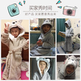 Children's winter coral velvet robe thick flannel bathrobe baby pajamas boy big virgin boy home gowns