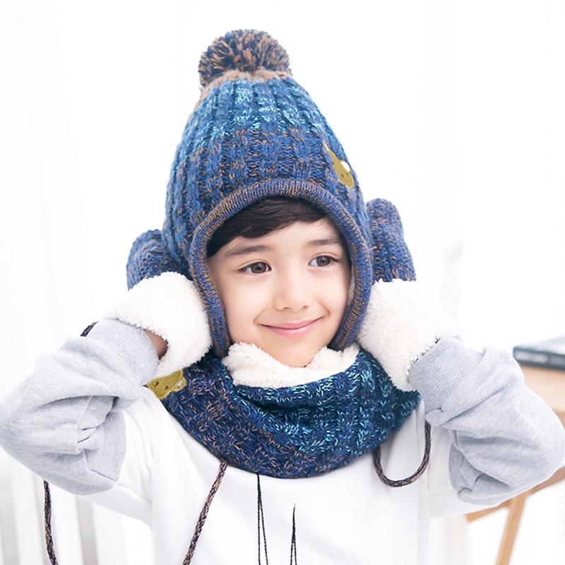 儿童帽子围巾手套三件套女童秋冬韩国公主8-10岁男童护耳套装冬季