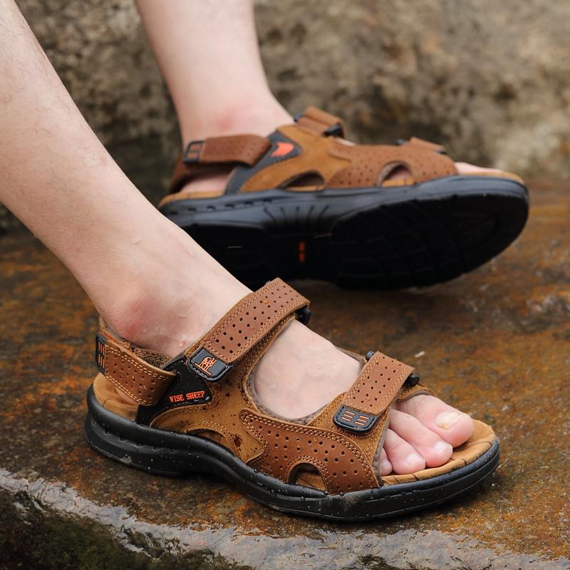 夏季凉鞋男真皮沙滩鞋男士防滑休闲透气露趾牛皮潮户外男式凉鞋子