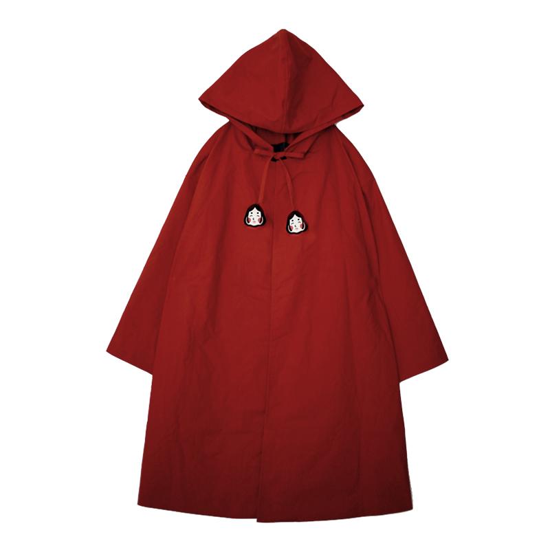 英伦披风斗篷风衣复古文艺可爱少女款红色圣诞款 原创设计小红帽
