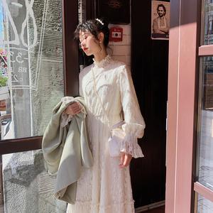 梅子熟了 文艺初秋法式复古收腰蕾丝长袖连衣裙女 秋季2019年新款