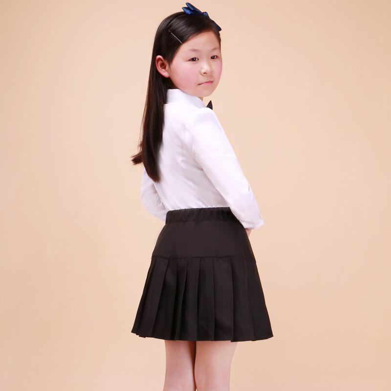 夏季校裙学生黑色短裙女童半身裙百褶裙子中大童校服演出服公主裙
