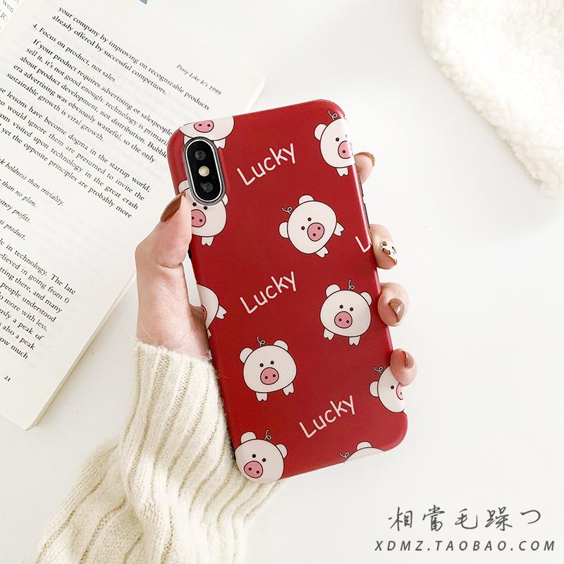 酒红lucky猪iPhone8plus手机壳7P/6S苹果x硅胶XR女款xs max软套潮