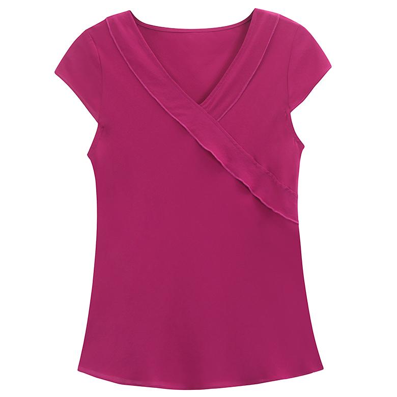 100%桑蚕丝短袖上衣女夏季 真丝衬衫修身款T恤杭州丝绸女装纯色